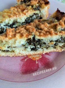 Открытый пирог с сыром и зеленью